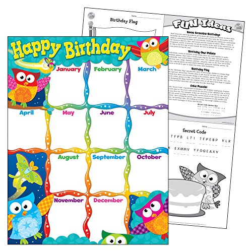 Trend Enterprises Happy Birthday (Owl-Stars!) Learning Chart (T-38452) Photo #2