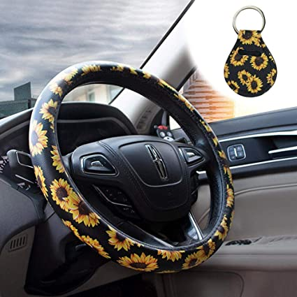 Magnificent Hamkaw Sunflower Steering Wheel Cover Sunflowers Car Accessories Stretchy Neoprene Car Styling Automotive Car Steering Wheel Covers Comfortable And Andrewgaddart Wooden Chair Designs For Living Room Andrewgaddartcom