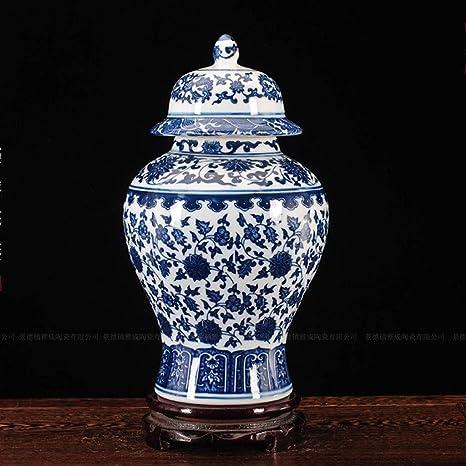 Size : Small DYFYMXD/écoration de Vase d/écoration de Jardin Vase Vintage Style Chinois Porcelaine Bleue et Blanche Vase en c/éramique Art Vase d/écoratif pour la Famille