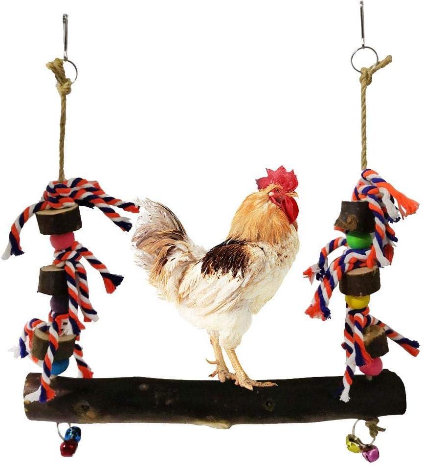 Parrot Play Soporte de madera Pájaro Triturador Perca Columpio de madera Perca Alimentador de mascotas hecho a mano natural Soportes Gallinas Juguete con campanas para pollo Pájaro Loro Entrenamiento