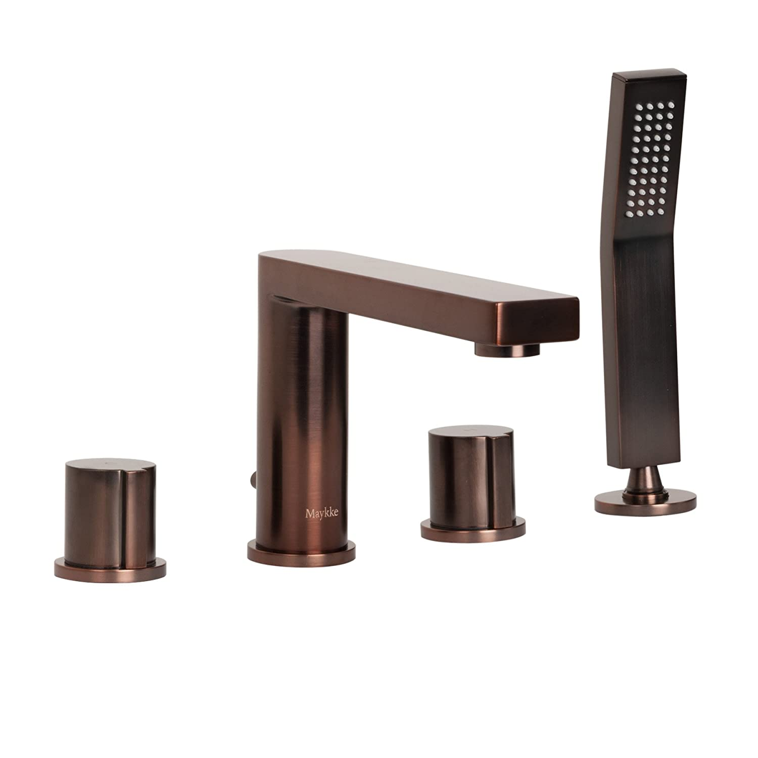 Maykke Friedrich Deck Mount Bathtub Faucet With Hand Shower Roman