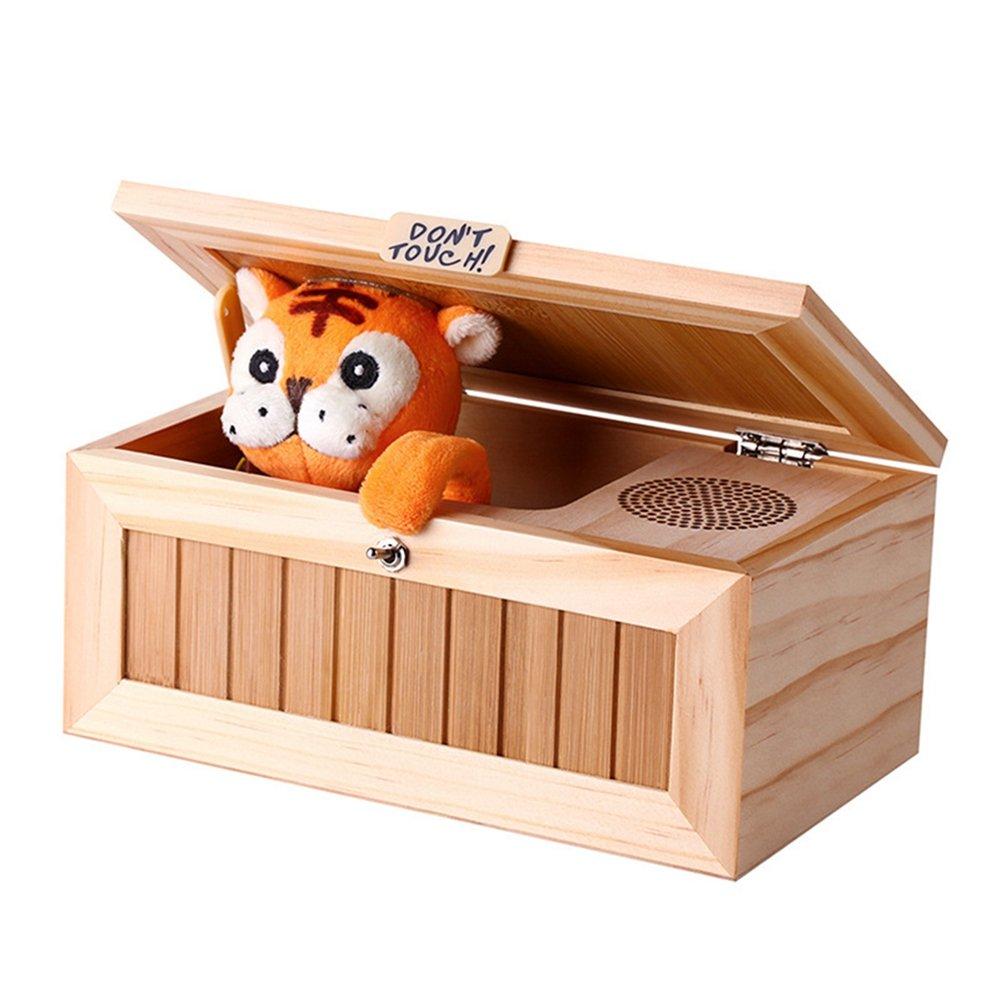 Alician Wooden Useless Box Leave Me Alone Box Most Useless Machine Don't Touch Tiger Toy Gift with Sound