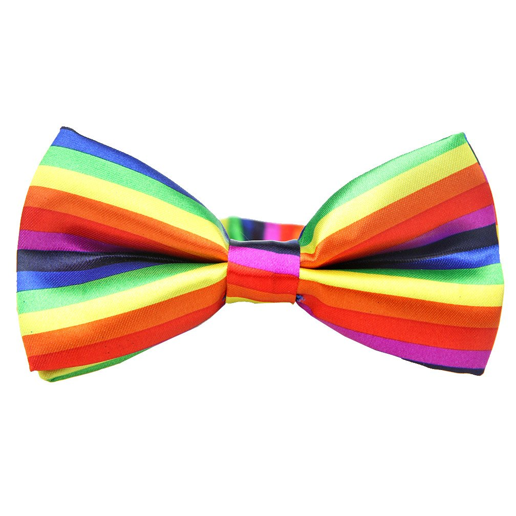 Womens Suspender Bow Tie Set Y Shape Adjustable Rainbow Checker Flag Black