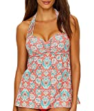 tankini d cup - Coco Reef Women's Tankini Top Swimsuit with Convertible Neckline, Mykonos Tangerine, 36-38D Cup