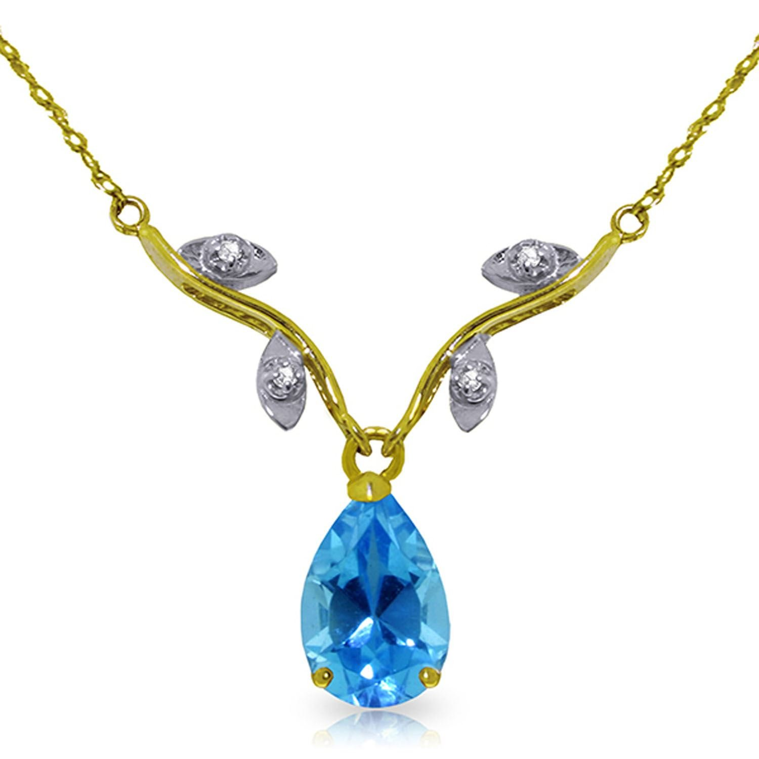 ALARRI 1.52 Carat 14K Solid Gold Love Under The Stars Blue Topaz Necklace with 18 Inch Chain Length