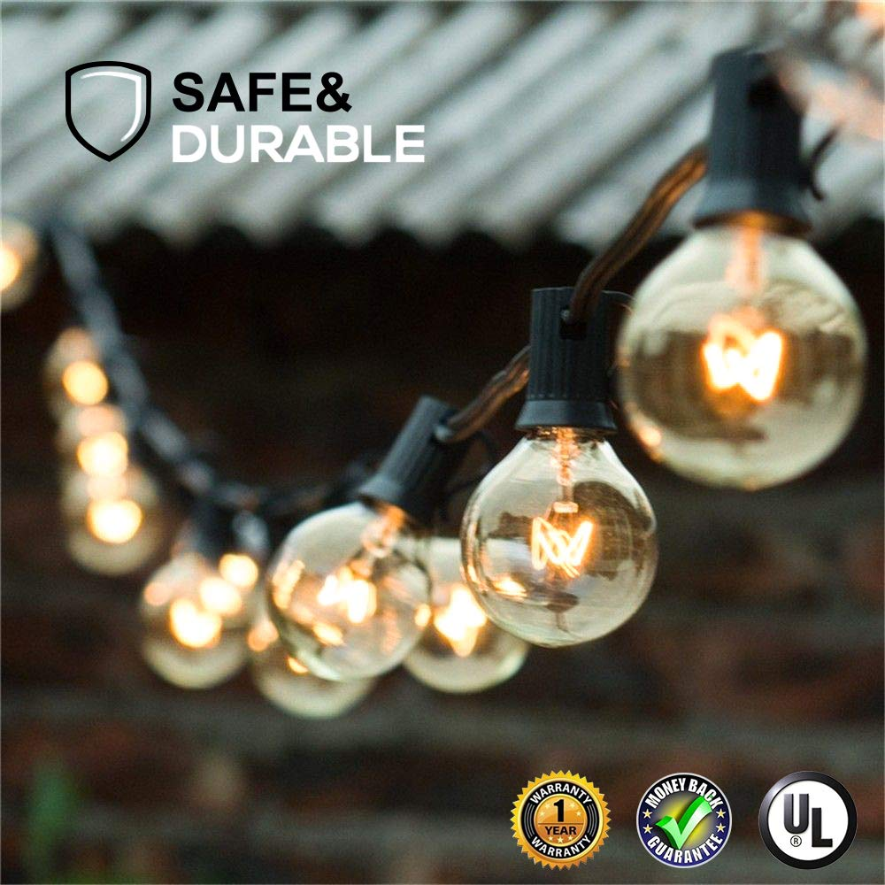 Guddl Globe String Lights with 27 Clear G40 Bulbs, Connectable Outdoor/Indoor Lights for Wedding Party Camping RV Garden Patio Gazebo Porch Pergola Bistro Backyard Balcony Deck, 25ft Black Wire