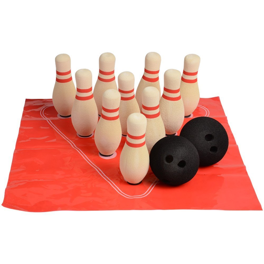CP Toys Kid-Sized 13-Piece Foam Safe Play Bowling Set – 10 Pins, 2 Bowling Balls, Positioning Mat, and Tote Bag – Ages 3+