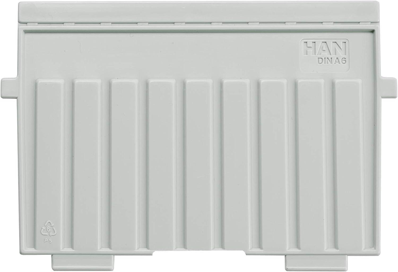 Han 9026-11 - Separadores de plástico para cajas de fichas, poliestireno, A6, apaisados, color gris claro