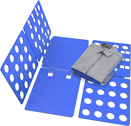 METALBAY Doblador de Ropa, Doblador de Camisetas Plástico Tabla para Doblar Vestidos Pantalones Azul 70 * 57,5cm