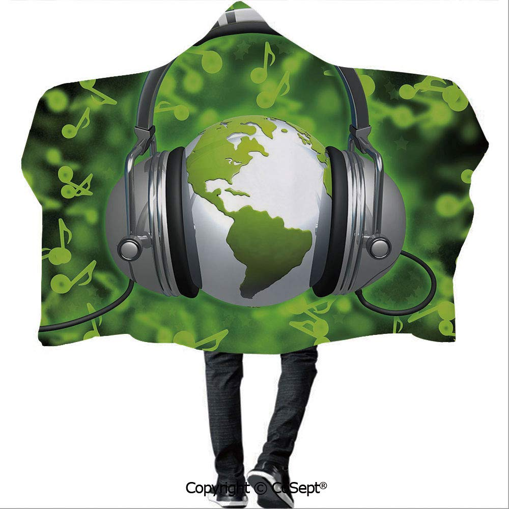 AmaUncle Wearable Hooded Blanket,World of Music Themed Composition DJ Musical Notes and Earth Globe Decorative,Warm Cozy Throw Blanket (59.05x78.74 inch),Lime Green Grey