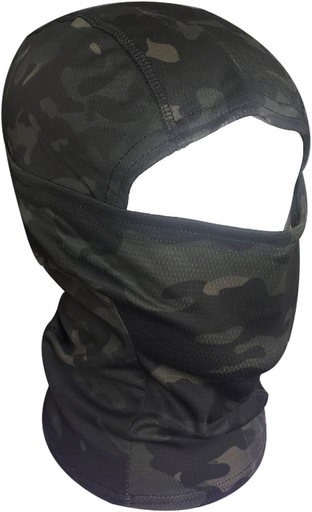 QHIU T/áctico Camuflaje Ninja Hood Capucha Completa Cara Cuello M/áscara Balaclava Aire libre Deporte Ej/ército Ciclismo Motocicleta Militar Paintball Airsoft Sombrerer/ía