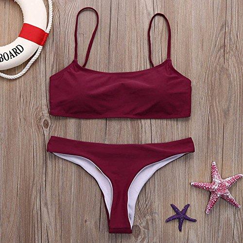 Mare Costume Swimwear Fascia LEvifun Beachwear Donne Rosso Vita Up Alta Bagno Pezzi Vino Due Push Donna Brasiliano Sexy Da Bikini Tankini Intero a4z4dwU