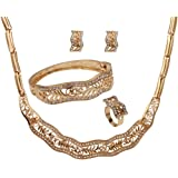 YAZILIND Fashion Women Wedding Jewelry Sets 18K Gold Plated Choker Necklace Earrings Bracelet Ring