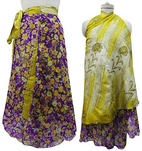 Reversible Magia Modelo Wrap Jardín Floral De Seda Falda Pareo Hippie Multicolor (Diseño # 1)