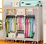 GL&G Wardrobe Closet Oxford cloth Free Standing Steel Pipe Storage Organizer – Home finishing decoration Portable, Detachable, and Wardrobe Systems Lightweight Clothing Closet ,B,65''67''