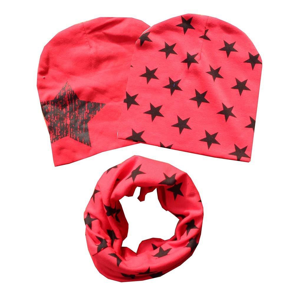 Urmagic Babies Cotton Neckerchief Kids Boy Girl Stars Style Collar Scarf +2PCs Beanie Caps