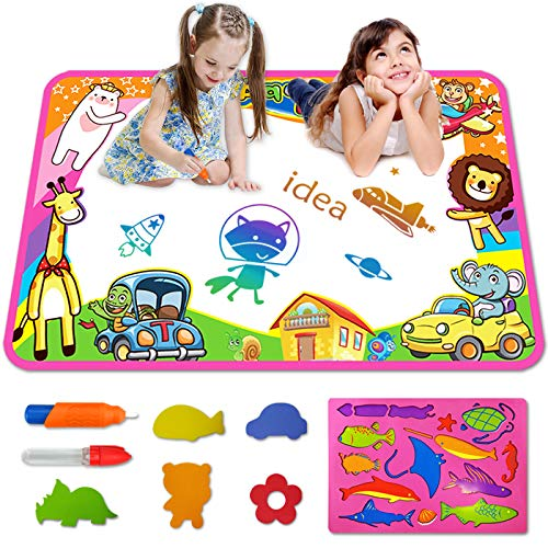 COOVEE Aqua Magic Mat, Water Drawing Mat Toy Gifts Painting Writing Doodle Pad Toys for Toddler Kids Age 2 to 9 Years Old Toddlers 34''x 22''