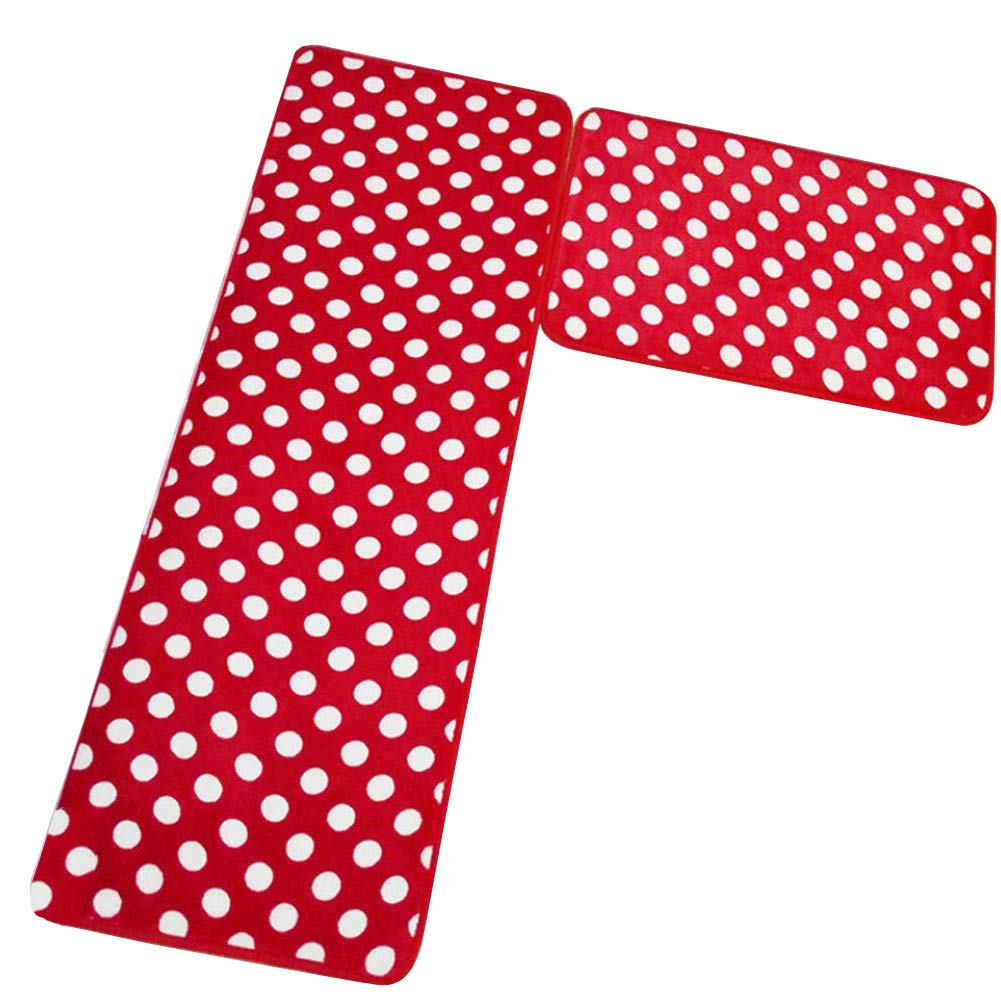 """Aboo Kitchen Rugs 2 Pieces Memory Foam Kitchen Mat Non-Slip Red With White Dot (15.7""""×23.6"""" + 15.7""""×47.2"""" Red)"""