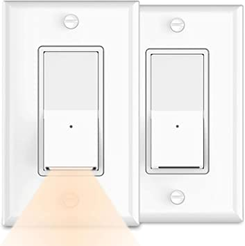 2pack Decorator Paddle Rocker Light Switch With Night Light 3 Wire Residential Grade 15 Amp 120volt Single Pole Switchlight Led Guidelight For Bathroom Bedrom No Wall Plate Cover Warm White Led