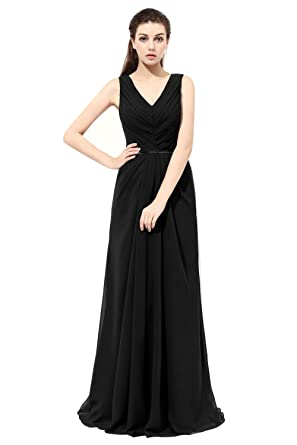 LanierWedding Womens Prom Dresses 2017 Long Lace Back Ruched Bust Two Straps Bridesmaid Dresses Black Size