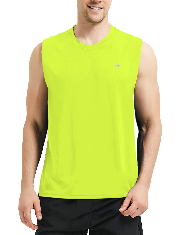 Roadbox Men's Performance Sleeveless Workout Muscle Bodybuilding Tank Tops Shirts Fluorescent Green by Roadbox