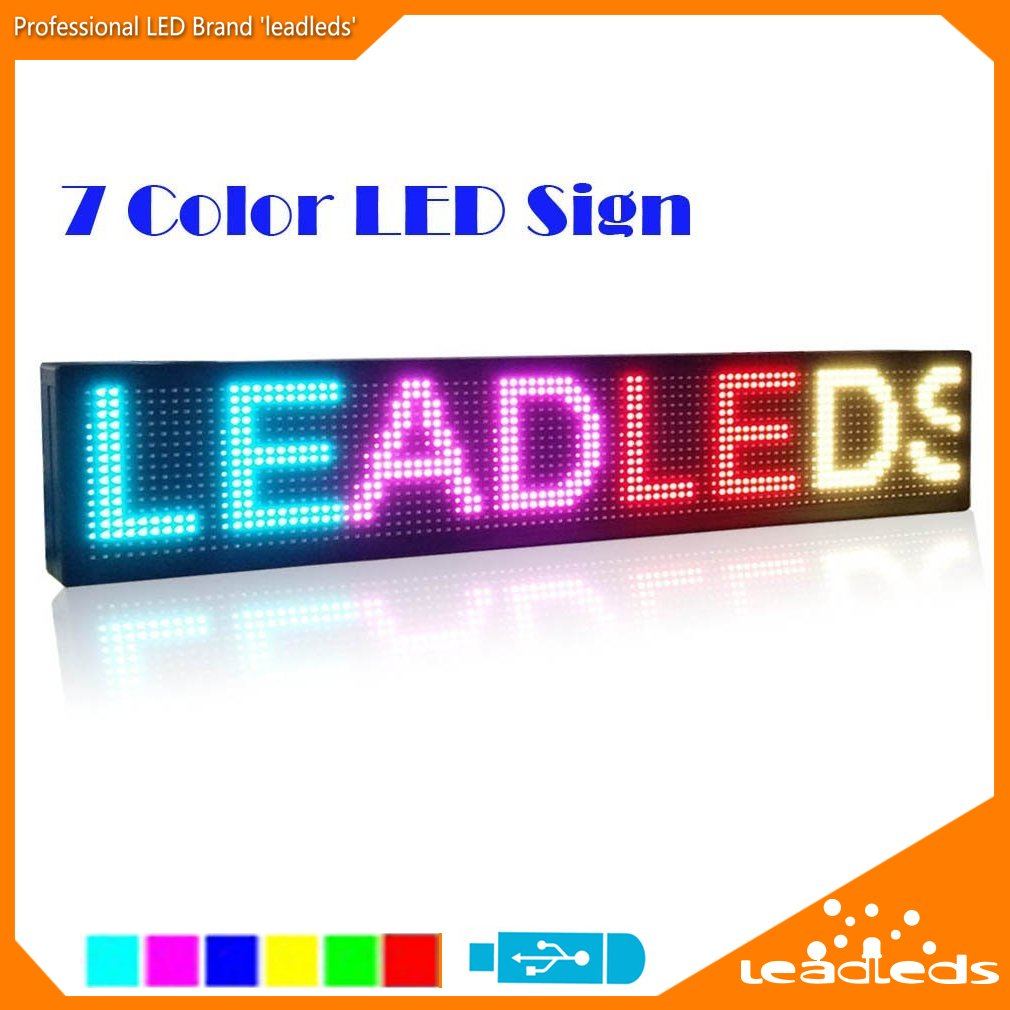 Leadleds 30 Inches P7.62 SMD RGB 7 Colors LED Display Board, USB Programmable Scrolling Message Open Signs for Advertising, Store, Business