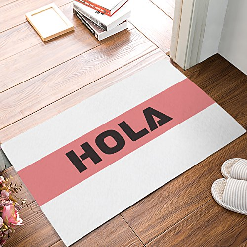 HomeCreator 18 x 30 Inch Hola Spanish Welcome Door Mats Kitchen Floor Bath Entrance Rug Mat Absorbent Indoor Bathroom Decor Doormats Rubber Non Slip