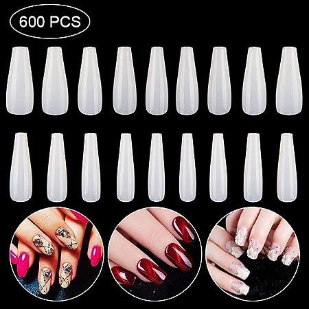Teepao Wellness Puntas de uñas, 600 Piezas de uñas postizas con ...