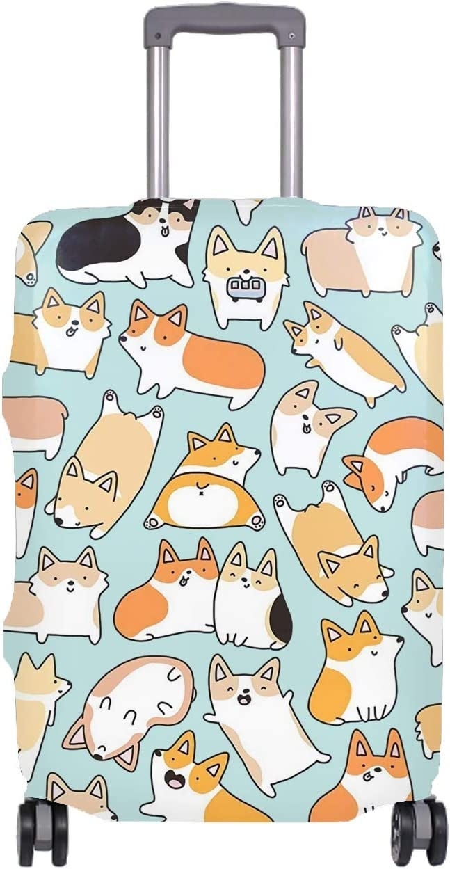 Washable Travel Luggage Cover Fashion Funny Corgi Suitcase Protector Fits 29-32 Inch
