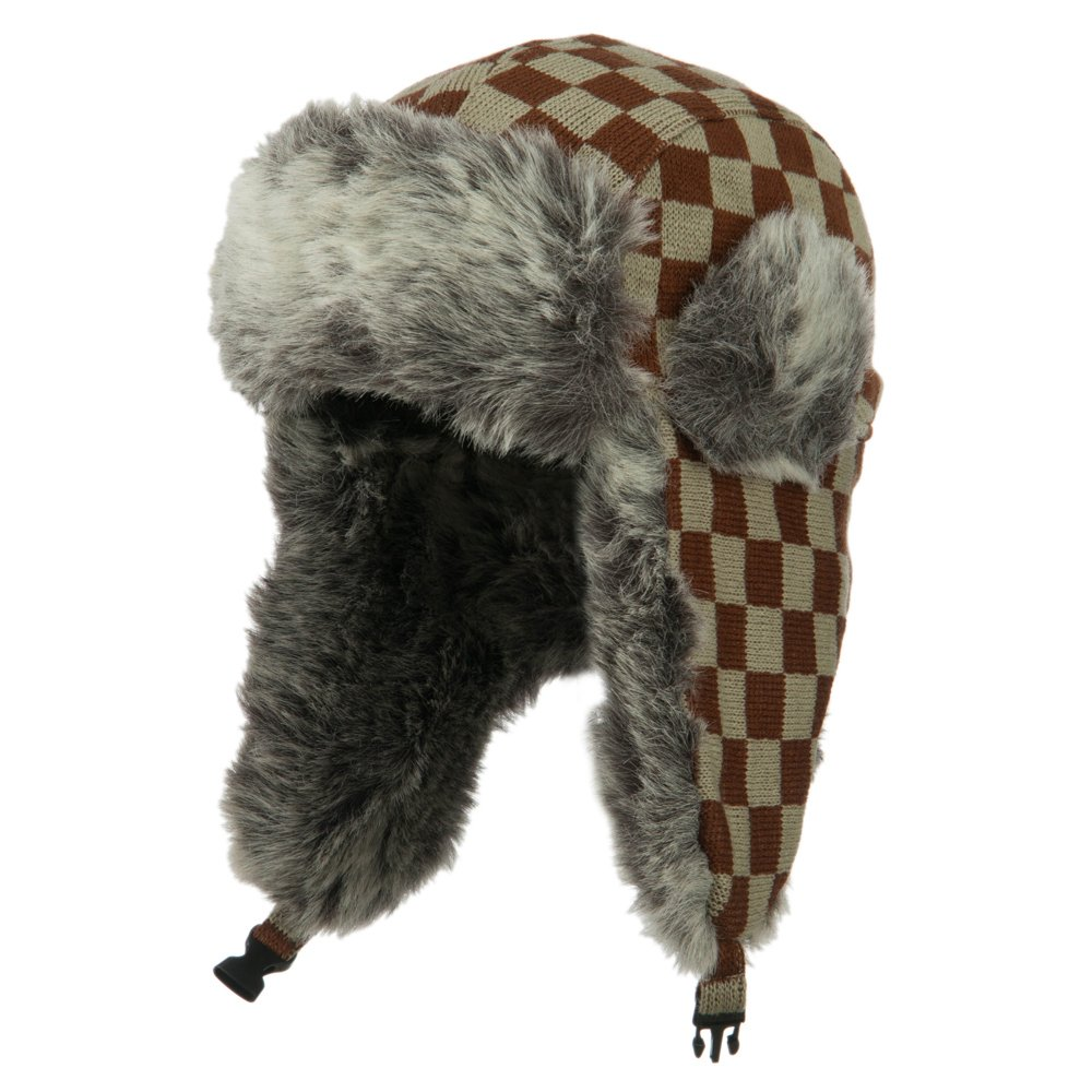 Jacquard Checkered Trooper Hat - Brown OSFM