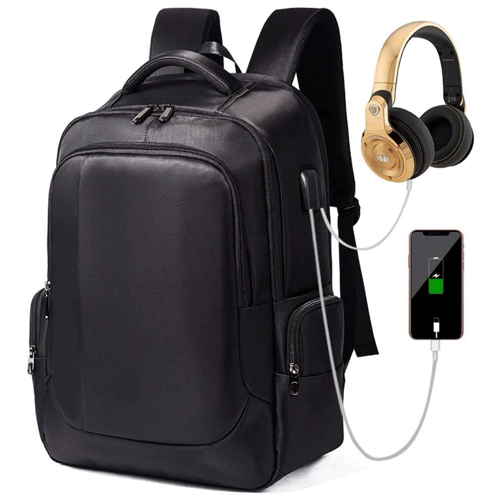 メンズと女性のバックパックは、USB充電ポート旅行のコンピュータバッグと屋外防水通気性の多機能  黒 B07K1FPXNP