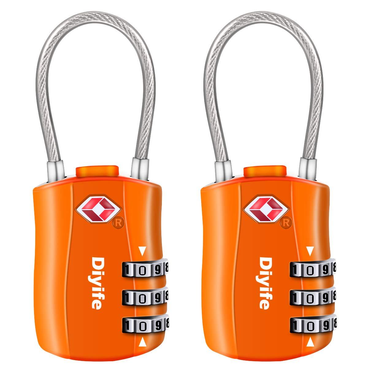 Diyife TSA Equipaje Locks, [2 Paquetes] 3 DíGitos Seguridad Candado, CombinacióN Candados