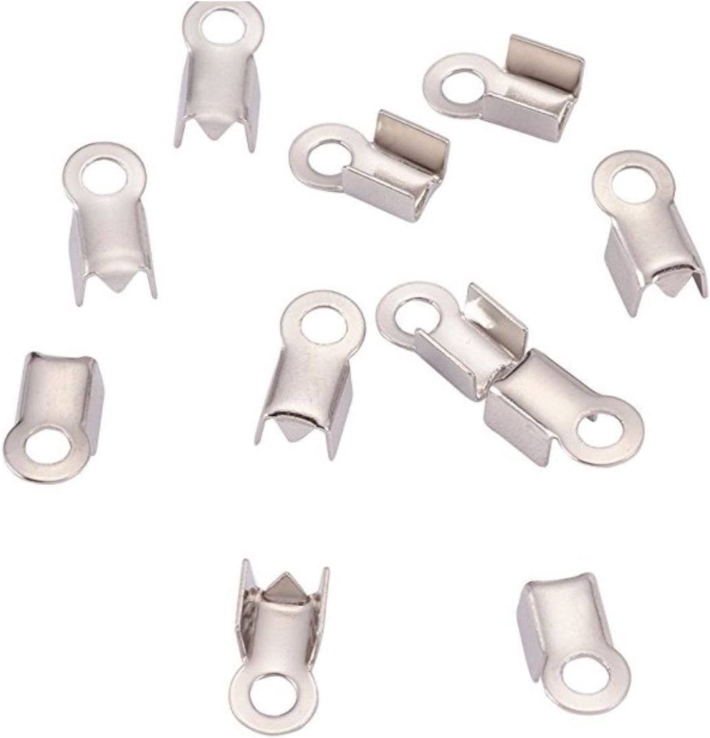 50pcs Top Quality 7mm Fold over Cord Ends Crimps Tips Terminator Stopper Connector Beads Sterling Silver Plated Copper Brass CF80