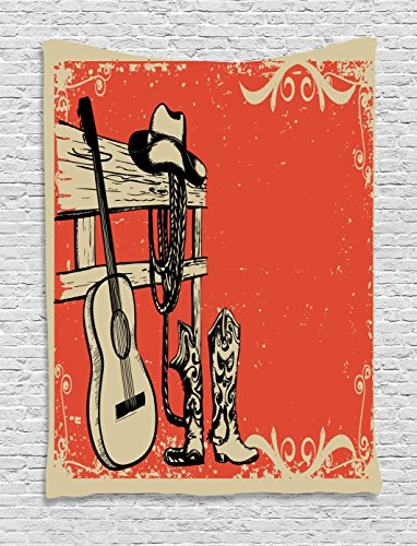 Wild West Theme Ideas (Western Decor Tapestry by Ambesonne, For Fathers Day Art Illustration Of Wild West Theme With Country Music Guitar and Cowboy Boots Retro Art, Bedroom Living Room Dorm, 40 x 60 Inch, Orange and Tan)