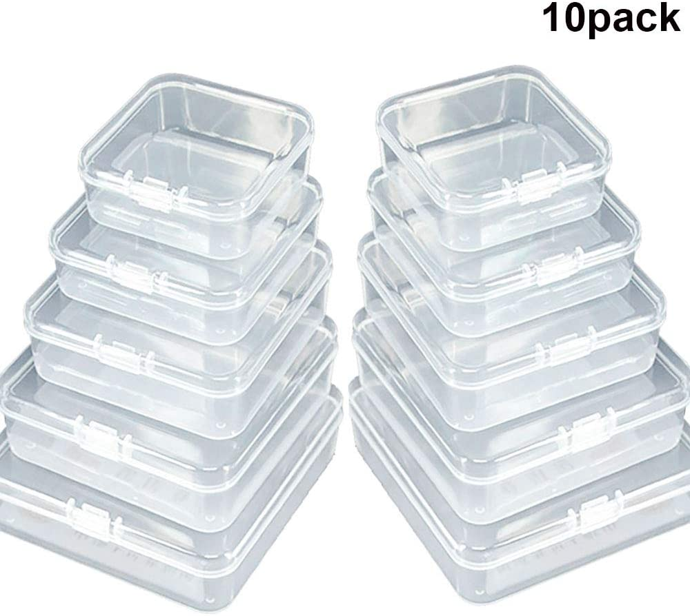 GlobalDream Caja de Almacenamiento de plástico Transparente Mini Cuadrado de 10 Piezas Contenedores Mixtos con Tapa de Interruptor Cerrado para artículos pequeños y Otros proyectos de artesanía