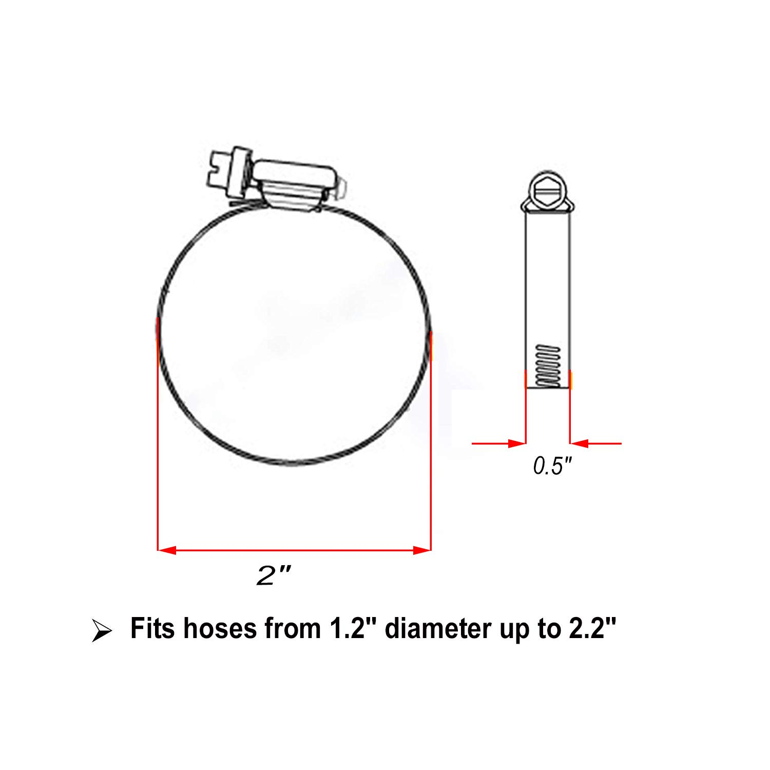Hose Clamp,5Pcs SS304 Stainless Steel Adjustable Size Range Worm Gear Hose Clamp Suitable for a Variety of Applications for Home 5-inch Auto and Industrial Use