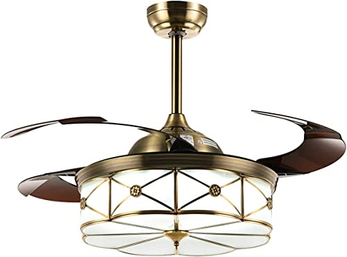 NOXARTE 36 Inch Brass Invisible Fan Promote Natural Ventilation Fan LED Dimmable Warm Daylight Cool White Chandelier Foldable Ceiling Fans with Lights Retractable Fan Fandelier with Remote Control