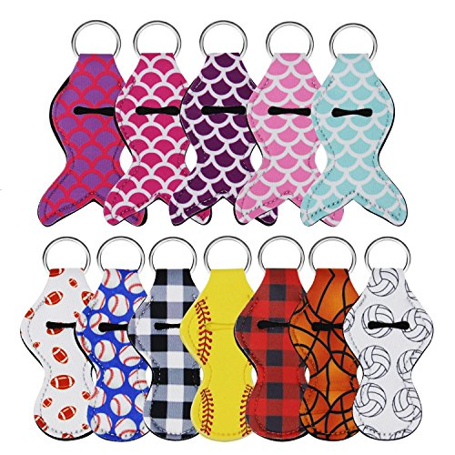 Hysagtek 12 Pcs Chapstick Holder Keychain Pouch Lipstick Keychains Holder Key Rings, Christmas Novelty Gift for Kids and Adult, 12 Different Vibrant Prints