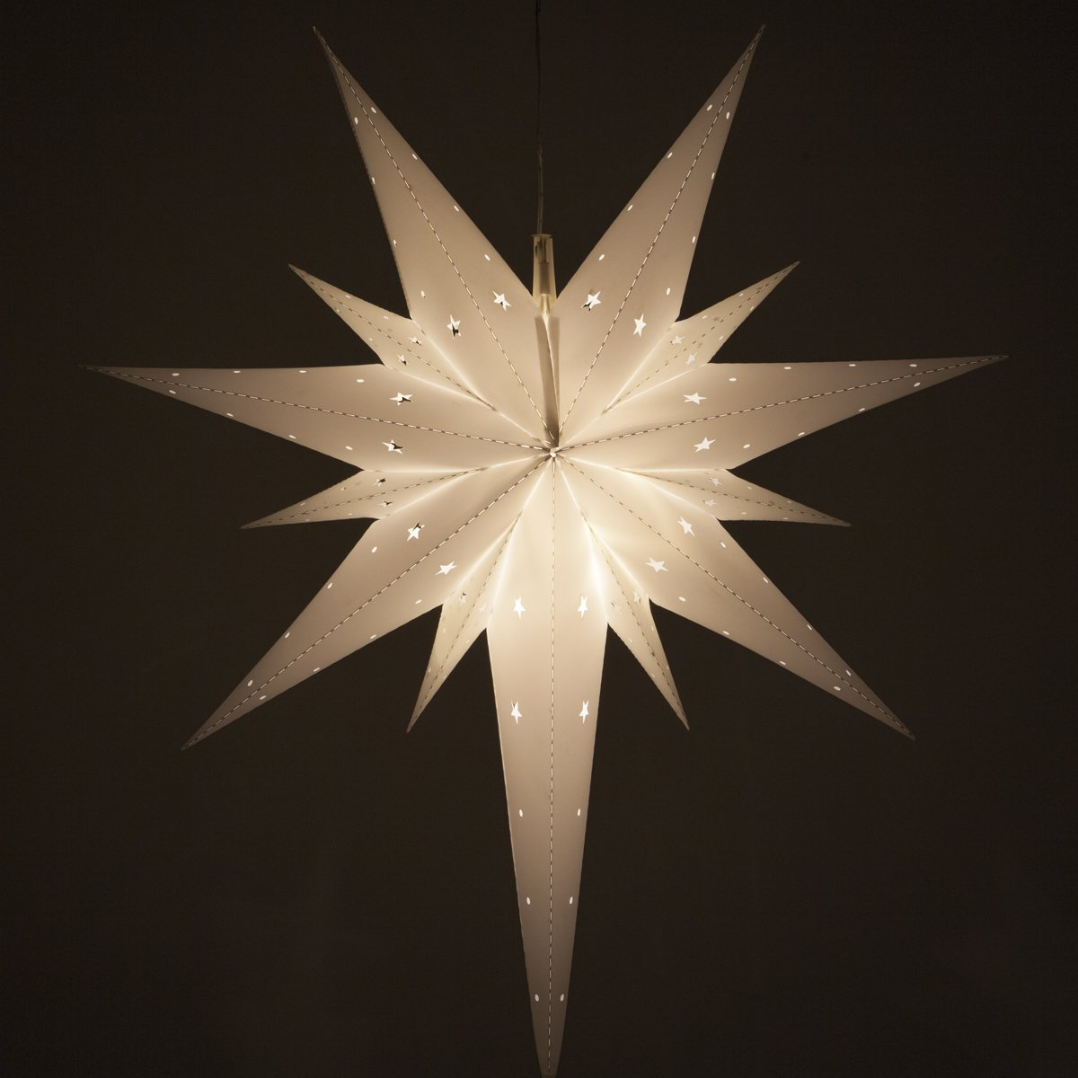Wintergreen Lighting Fold-Flat Bethlehem Star Light – LED Star Christmas Decoration, Battery-Powered with Timer, (26'', White)