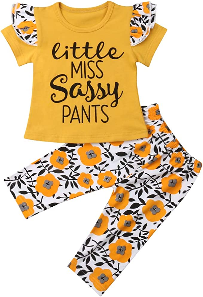 Toddler Baby Girls Shorts Outfits Little Miss Sassy Pants Letter Print Vest T-Shirt Tops Tassel Pants Summer Clothes Set 2pcs