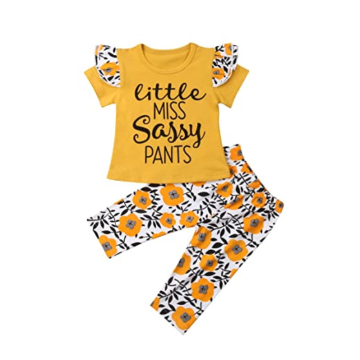 2816fe818 Amazon.com: 2Pcs/Set Baby Girls Letter Floral Clothes Outfits T ...