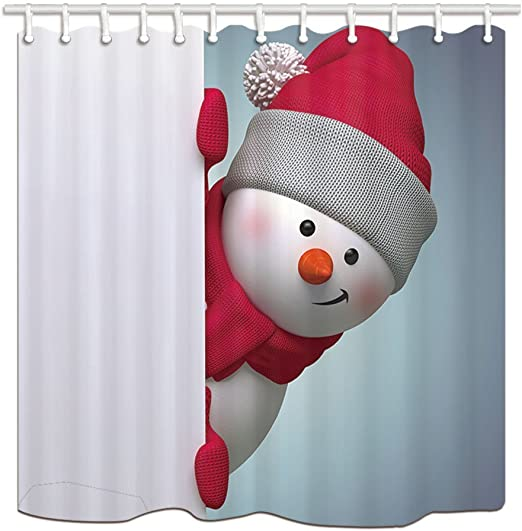 Snowman and Christmas Tree With Moon Bathroom Fabric Shower Curtain Set 71Inches