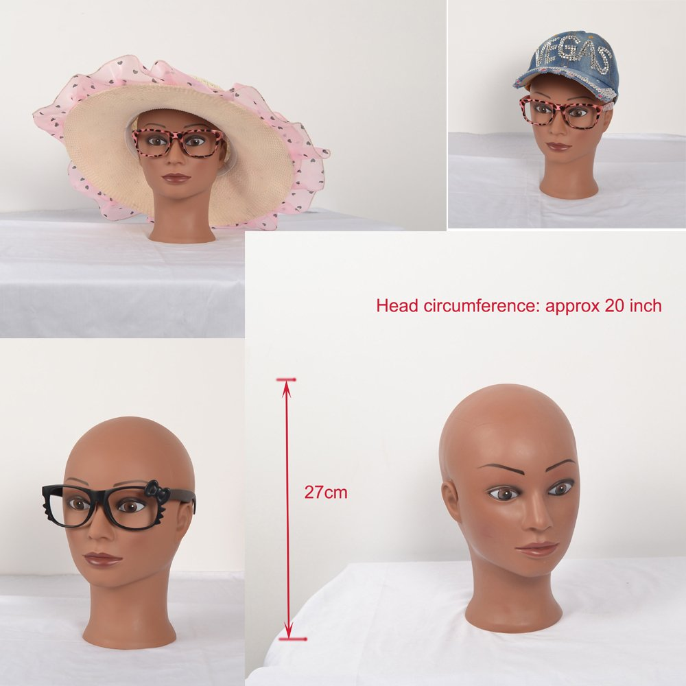 (RJ01) Black skin Flesh Plastic Female Head Display Mannequin Mannakin Manakin for Wigs Snow Caps Glasses Hats come with clamp yiliusu