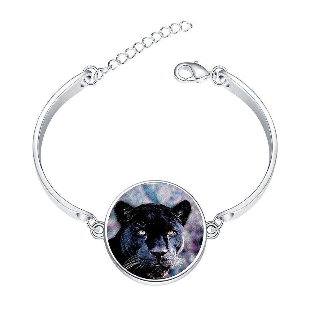 Adjustable Sterling Silver Bracelets Black Panther Vintage Alloy Bangle Custom Image Glass Cabochon Brace Lace