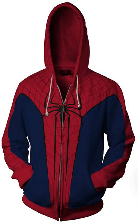 GYMAN The Amazing Spider-Man 3D Sudaderas con Capucha Impresión A Prueba Viento Sudaderas Adulto Niño De Los Trajes Cosplay Chaqueta Informal para El Regalo Cumpleaños Navidad,C-3X