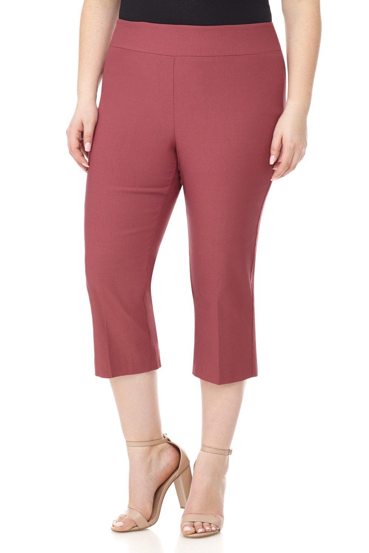 Rekucci Curvy Woman Plus Size Classic Wide Waist Flattering Fit Capri (18W,Desert Rose)