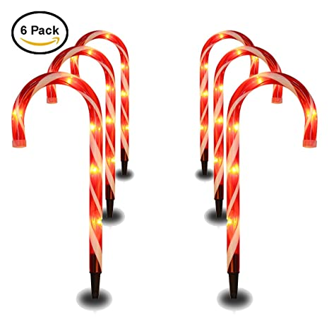Outdoor Candy Cane Lights Amazon cane candy lights outdoor christmas yard lawn pathway cane candy lights outdoor christmas yard lawn pathway markers with garden stakes large plastic workwithnaturefo