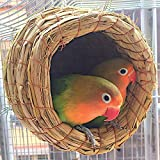 RunHigh Handwoven Straw Bird Nest Cage, House Hatching Breeding Cave For Parrot, Canary or Cockatiels
