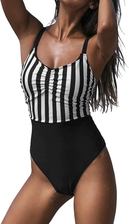 GirlsUpto Womens Athletic One Piece Swimsuits Tummy Control Sport Bathing Suit Retro High Cut Swimwear