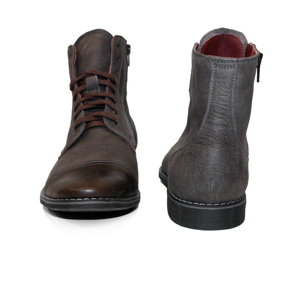 d37fb191cd29 Modello Muccato - Handgemachtes Italienisch Leder Herren Braun Stiefel  Stiefeletten - Rindsleder Weiches Leder - Schnüren  Amazon.de  Schuhe    Handtaschen